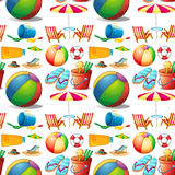 Seamless beach objects and toys Royalty Free Stock Images