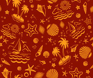 Seamless Beach Vector Pattern Royalty Free Stock Photos