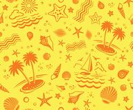 Seamless Beach Vector Pattern Royalty Free Stock Photo