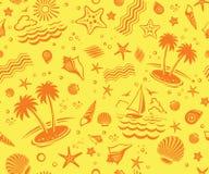 Seamless Beach Vector Pattern Royalty Free Stock Photo