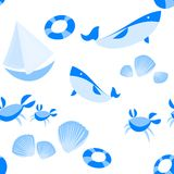 Seamless Beach Vector Pattern stock illustration