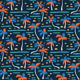 Seamless beach vector pattern with sand, palms and waves. Vector hawaiian background. Fabric design. Royalty Free Stock Photo