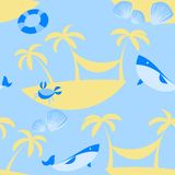 Seamless Beach Vector Pattern Stock Images