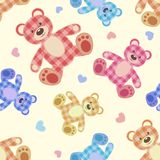 Seamless bear light patchwork pattern. Stock Photography