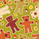 Seamless bears in autumn. Teddy bears, autumn leaves and mushrooms repeat pattern (print, swatch, repeatable tile, seamless wallpaper or background Stock Images
