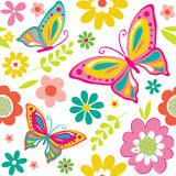 Seamless beautiful butterfly and flowers pattern Royalty Free Stock Photos