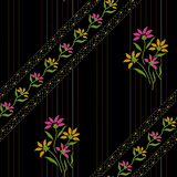 Seamless beautiful floral design with black background stock illustration