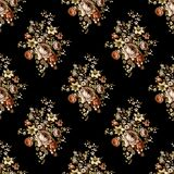 Seamless beautiful flower pattern with black background royalty free illustration