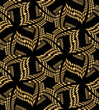 Seamless Beautiful Golden Polygonal Pattern on Black. Geometric Abstract Background.  Suitable for textile, fabric, packaging Stock Images