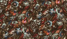 Seamless beautiful watercolor flower dark background royalty free illustration