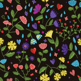Seamless beauty floral vector pattern on dark background in cartoon style Stock Images