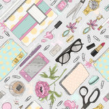 Seamless beauty pattern with make up, nail polish, flowers, jewe. Lry, notebook, pen. Background for girls or women. Cute seamless office pattern Royalty Free Stock Photos
