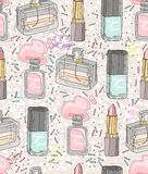Seamless beauty pattern with make up Stock Images