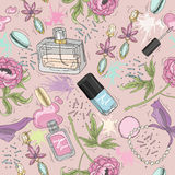 Seamless beauty pattern with make up, perfume, nail polish. Flowers, jewelry Stock Image