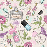 Seamless beauty pattern with make up, perfume, nail polish. Flowers, jewelry. Background for girls or women Stock Images