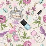 Seamless beauty pattern with make up, perfume, nail polish Stock Images