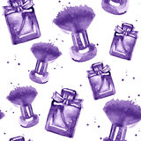 Seamless beauty pattern with make up, perfumeand splash. royalty free illustration