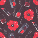 Seamless beauty products pattern with rouge, lipstick, nail polish bottles and scarlet poppy flower on black paper. Hand drawn des Stock Photography
