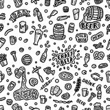 Seamless beer background. Hand drawn beer doodles, sketchy illustration of beer, vector background Royalty Free Stock Photo