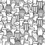 Seamless beer background. Hand drawn beer doodles, sketchy illustration of beer, vector background Stock Images