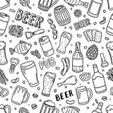 Seamless beer background. Hand drawn beer doodles, sketchy illustration of beer, vector background Stock Photos