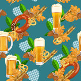 Seamless beer pattern with pretzels, wheat, sausages. Oktoberfest background. Stock Photo