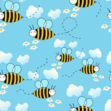 Seamless bees background. Seamless cute flying bees background royalty free illustration