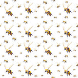 Seamless bees background. Seamless white background with sketched flying bees vector illustration