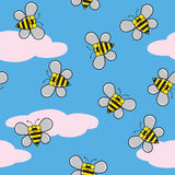 Seamless Bees and Clouds Stock Photos