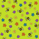 Seamless bees and flowers pattern. Endless texture can be used for printing onto fabric, paper or scrap booking, wallpaper, pattern fills, web page background Royalty Free Stock Image