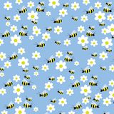 Seamless bees and flowers pattern Stock Photo