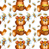 Seamless bees flying and bear with honey Stock Photos