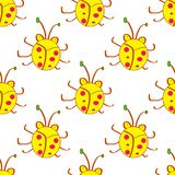 Seamless beetle, bugs yellow cartoon pattern. In kids style. Background with happy insects. Colorful hand drawn print. Vector dood. Le illustration Royalty Free Stock Photo
