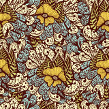 Seamless beige and blue doodle floral pattern Royalty Free Stock Photo