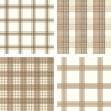 Seamless Beige Checked Pattern Set Stock Photos
