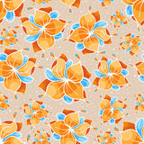 Seamless beige floral pattern. Seamless beige pattern with orange flowers and blue leafs Stock Images