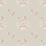 Seamless beige flowers pattern on beige dotted Royalty Free Stock Image