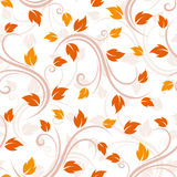 Seamless beige pattern with autumn leaves. Royalty Free Stock Photos