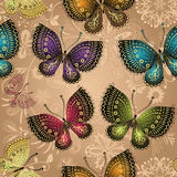 Seamless beige pattern with bright colorful butterflies Stock Photo