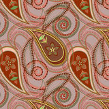 Seamless beige pattern with paisley and flowers. Vector print . Stock Photos
