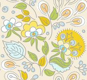 Seamless beige pattern, yellow flowers, blue berries, green leaves. Stock Image