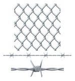 Seamless belägga med tegel staket och taggtråd Arkivfoton