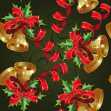 Seamless with bells. On a green background. Clipping Mask. (can be repeated and scaled in any size Royalty Free Stock Photo