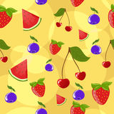 Seamless berries background. Seamless cute background with different berries Royalty Free Stock Photo