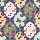 Seamless berry pattern patchwork design for fabric Stock Images
