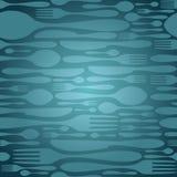 Seamless bestick mönstrar i blått Arkivfoton