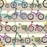 Seamless bicycle pattern. Drawing Stock Photo