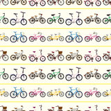 Seamless bicycle pattern. Cute cartoon vector illusttration Stock Photos
