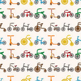 Seamless bicycle pattern. Cute cartoon vector illusttration Royalty Free Stock Photography