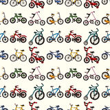 Seamless bicycle pattern. Cartoon vector illustration Stock Images